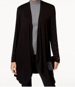 Studded-Sleeve Duster Cardigan