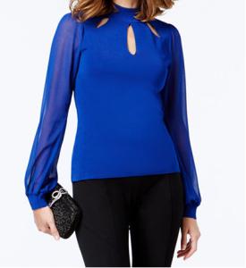 INC Mock-Neck Cutout Sheer Sleeve Sweater