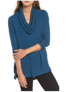 Gibson Convertible Neckline Cozy Fleece Tunic